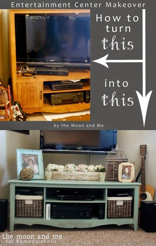 Turn an old entertainment center into a TV console table | The Moon and Me featu...