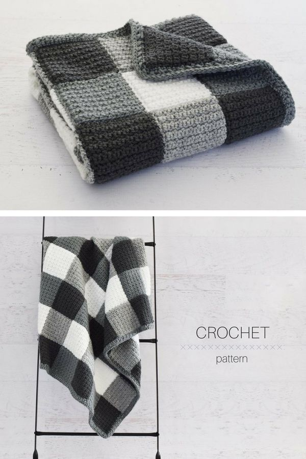 Beautiful Black and White Farmhouse Gingham Crochet Blanket Pattern! #crochetpro...