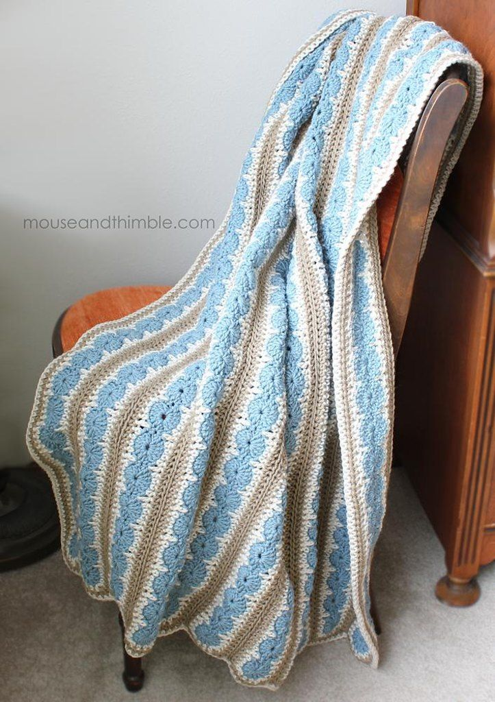 Crochet a cozy 3-color Lap Throw to King size bed spread. Twin, Full & Queen top...