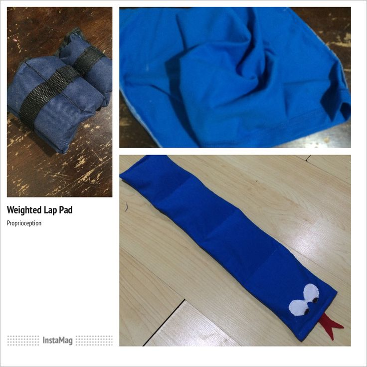 #DIY weighted lap pad from an old shirt and ankle weights.