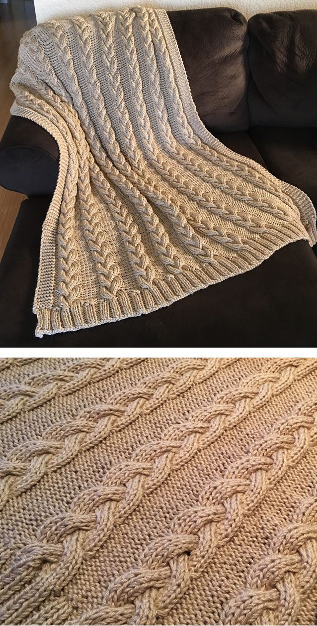 Free Knitting Pattern for Braided Cable Throw - Simple yet elegant cable blanket...