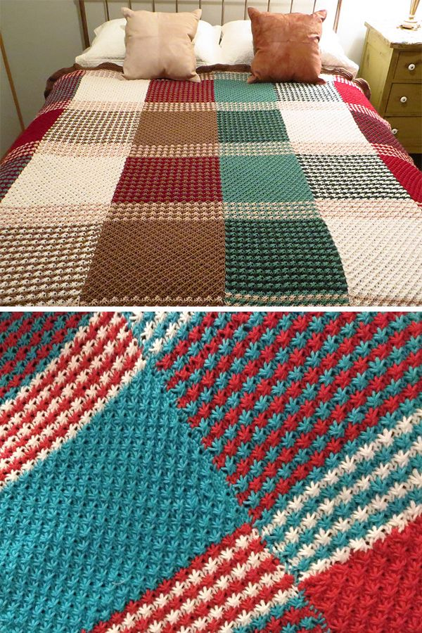 Free Knitting Pattern for Star Stitch Afghan - Blanket knit with star or daisy s...