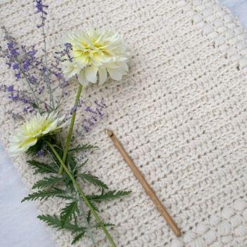 Ivory Dawn Baby Blanket crochet pattern by Hidden Meadow Crochet