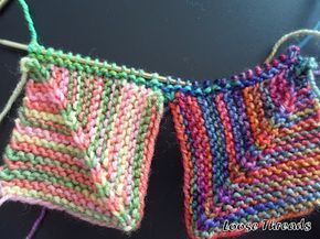 LOOSE THREADS: Knit Mitered Square Blanket - for leftover yarn (especially finge...