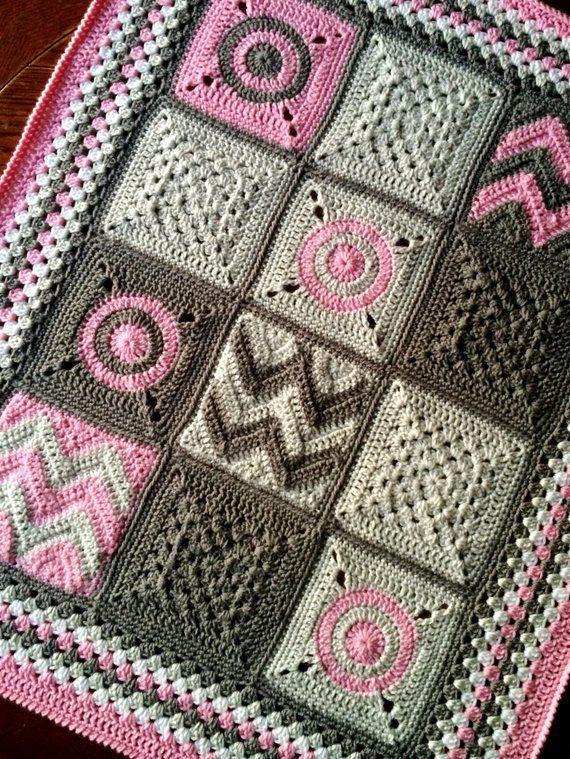 MODERN PATCHWORK CROCHET blanket pattern/crochet baby