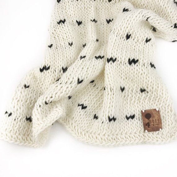 Monochromatic Knit Baby Blanket with Tiny Black Hearts