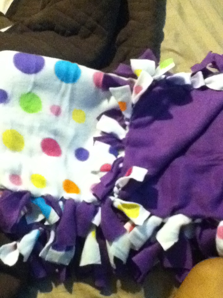 Original Pin; DIY no sew fleece blanket. ✔Done