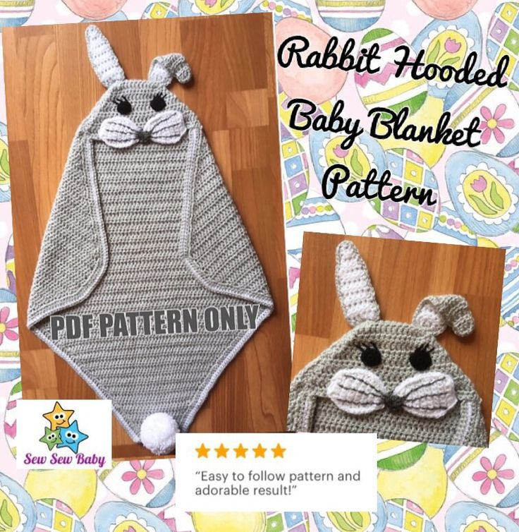 Rabbit Hooded Baby Wrap Blanket Crochet Pattern 0-6 months and 6-12 months Great...