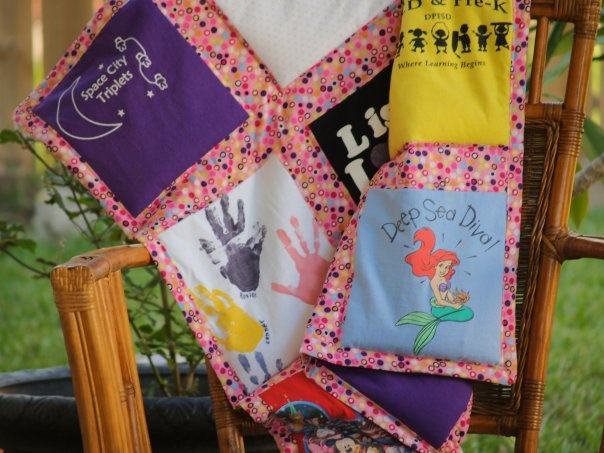 Rosie's weighted blanket made from all her favorite pre-k t-shirts, and fill...