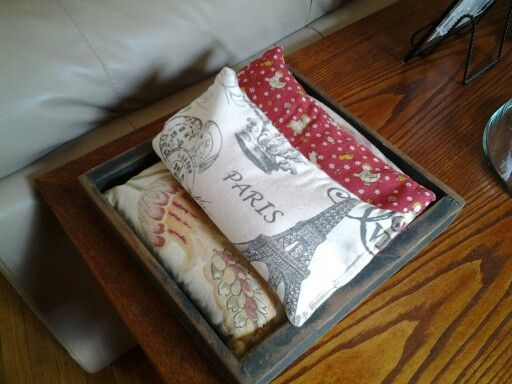 Sew up rice bags for cold evenings, keep them on a side table to heat them in th...