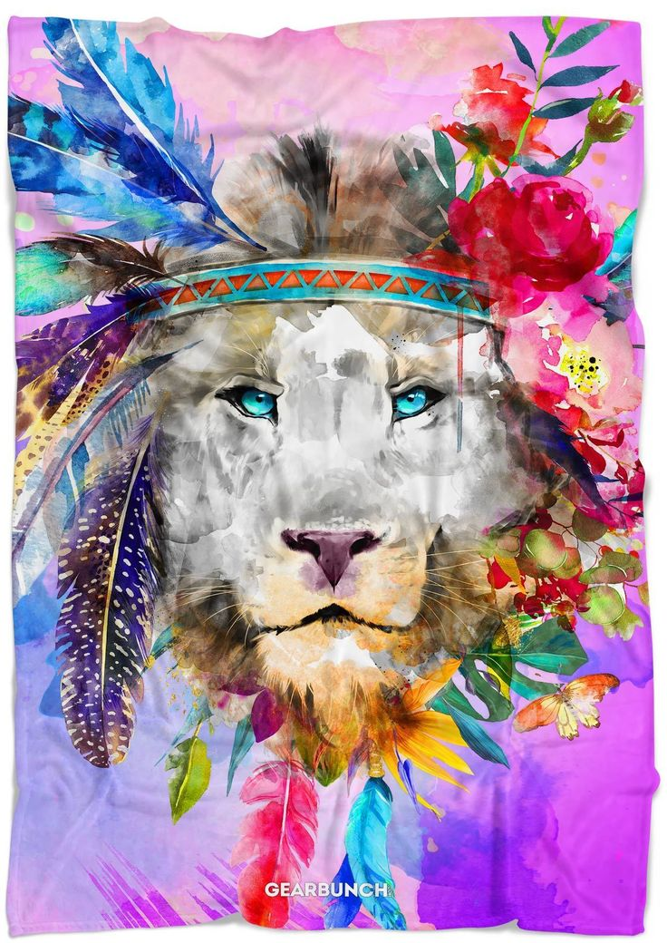 Watercolor Bright Lion Blanket   gifts for guys   gift ideas