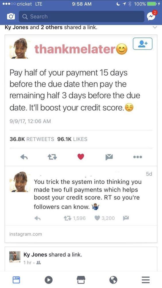 Credit score hack