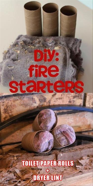 DIY firestarters - toilet paper rolls and dryer lint
