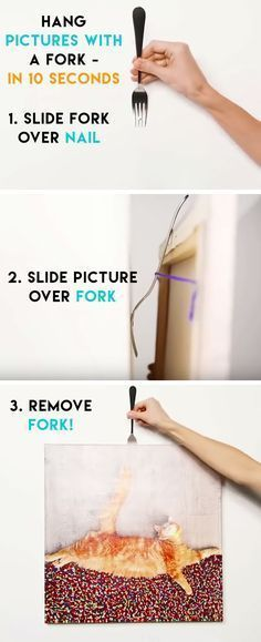 Hang Pictures with a Fork | Life Hacks Every Girl Should Know | DIY Home Decorat...