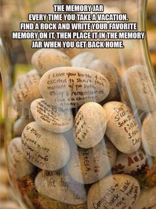 Best Diy Life Hacks Crafts Ideas The Memory Jar Every Time You Take A Vacation Find A Rock And Write Your Favori Diyall Net Home Of Diy Craft