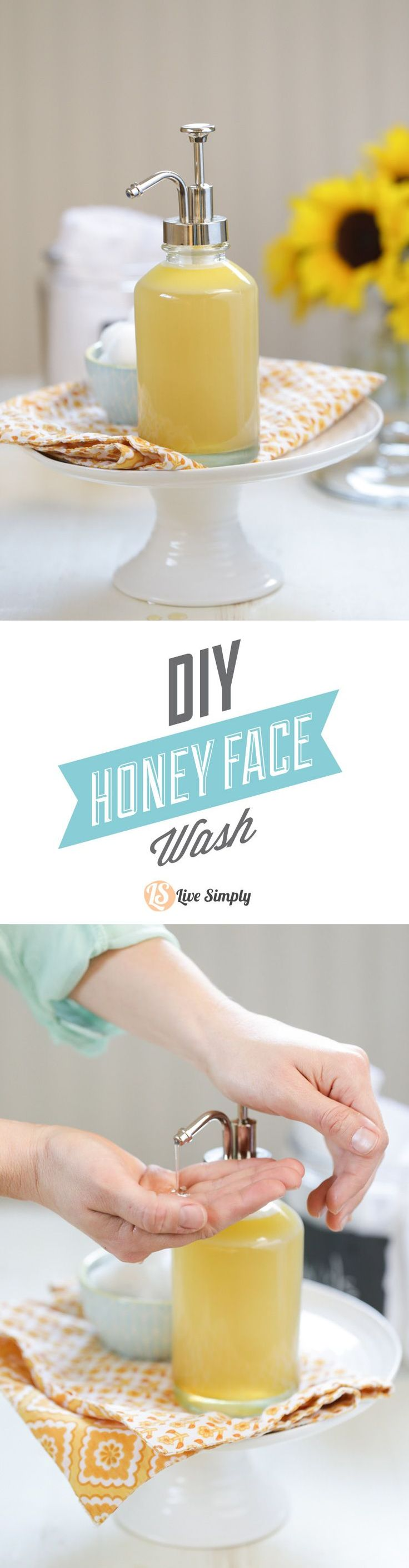A DIY homemade honey face wash that's natural and effective for cleansing the sk...