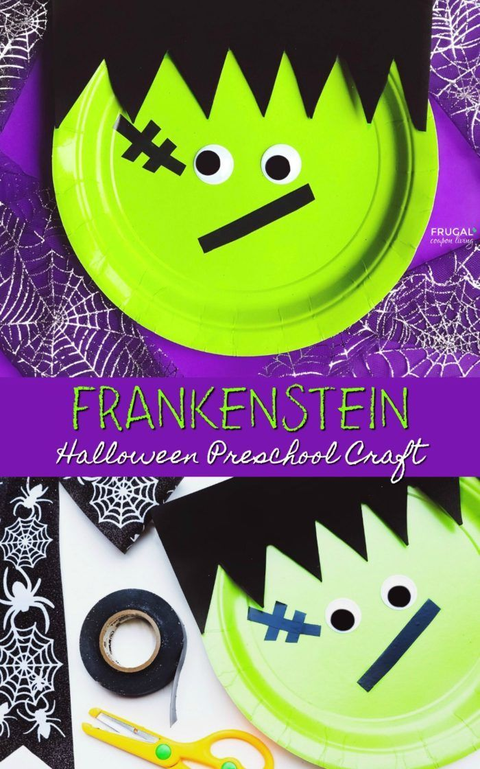 A Halloween Preschool Craft perfect for the kids. Make a paper plate Frankenstei...