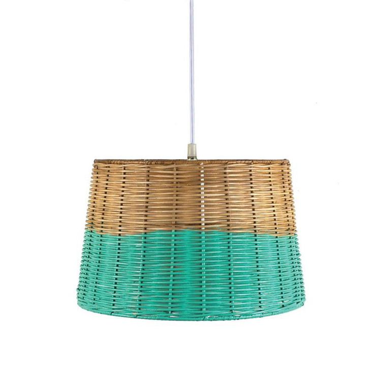Aqua-Dipped Wicker Pendant Light