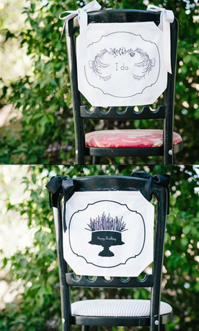 Beautiful chair banners to decorate the back of the bride or grooms chair at the...