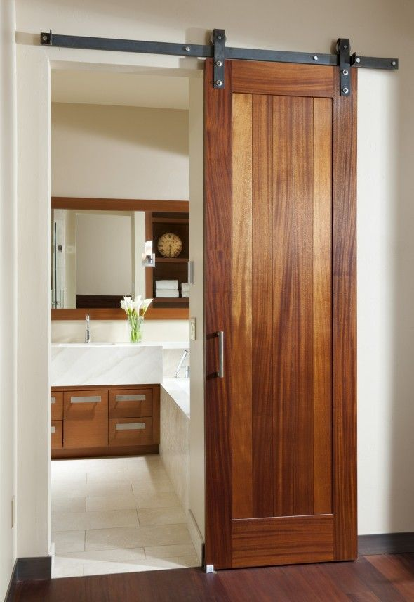 Closet door? Nice alternative to a pocket door.  Much easier than moving electri...