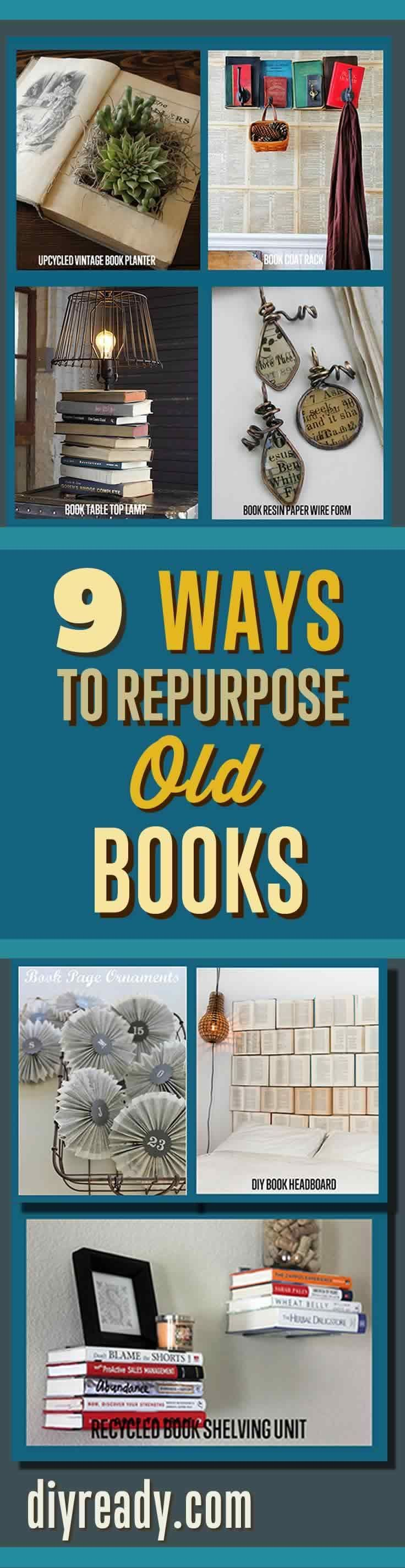 Craft Projects Ideas with Old Books. Repurposed Items can can used to make creat...