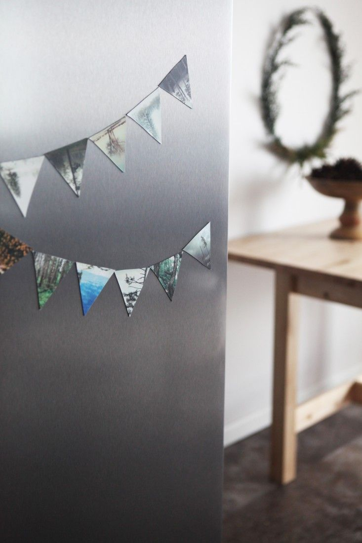Create a decorative refrigerator magnetic photo banner. #diy