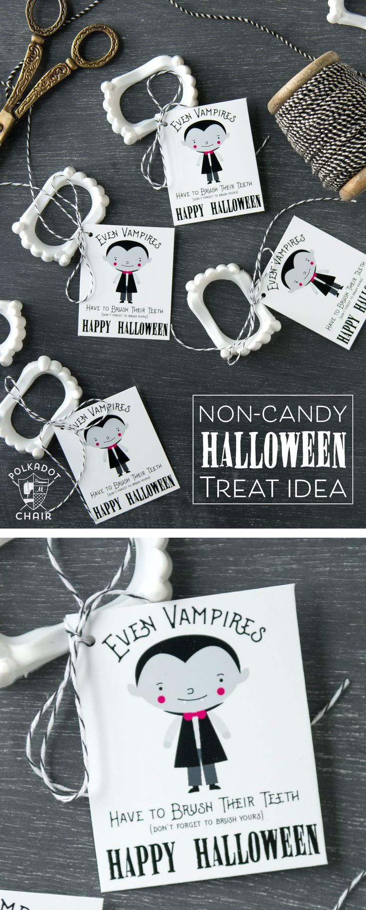 Cute non-candy Halloween Treat idea - free printable tags to attach to vampire t...