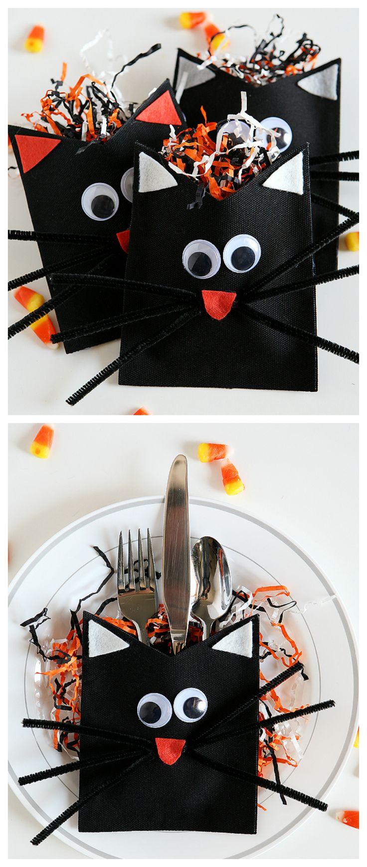 DIY Black Cats - Halloween DIY Black Cat Treat Holders
