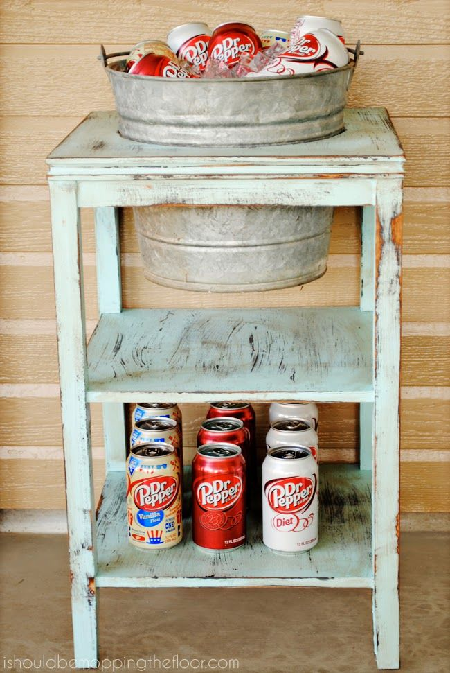 DIY Drink Station from a thrift store side table. Includes a tutorial on how to ...