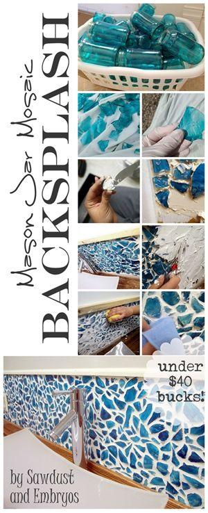DIY Mason Jar Mosaic Backsplash Tutorial... everything for under $40 bucks! {Saw...