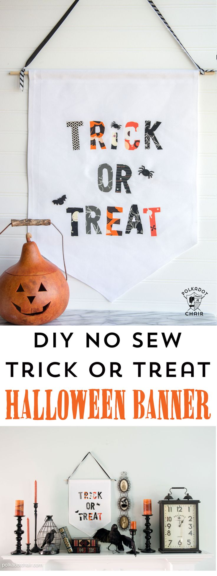 DIY Trick or Treat Halloween Banner- so easy to make it's no sew, site inclu...