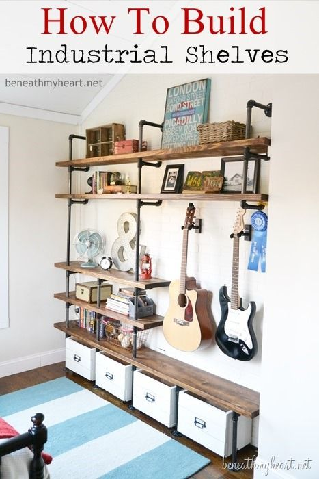 DIY built-in shelves with pipes