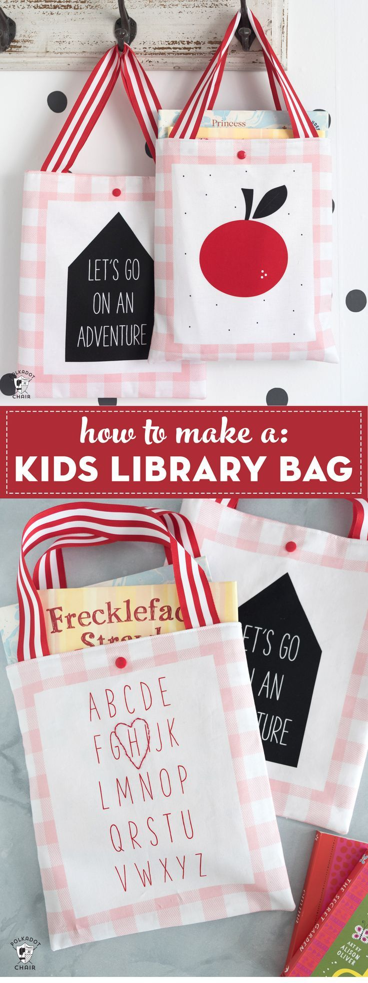 Free sewing pattern for a kids library bag. An easy book bag tutorial. So cute! ...