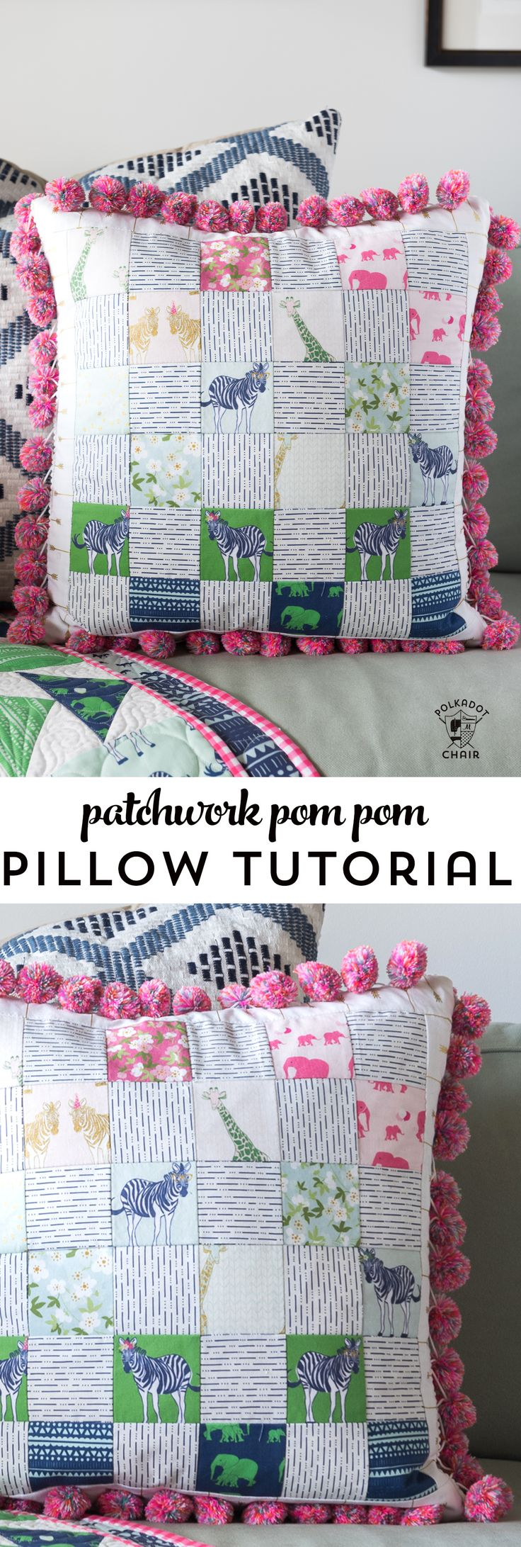 Free sewing pattern for a pom pom patchwork pillow. Uses a fun cheater way to ma...