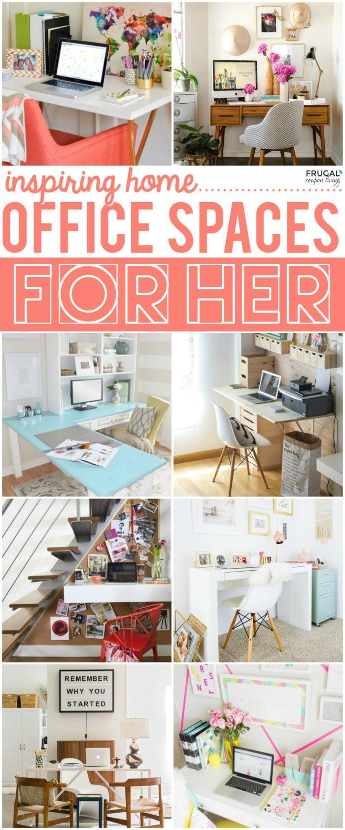 Home Office Ideas for Women on Frugal Coupon Living. Creative and inspiring room...