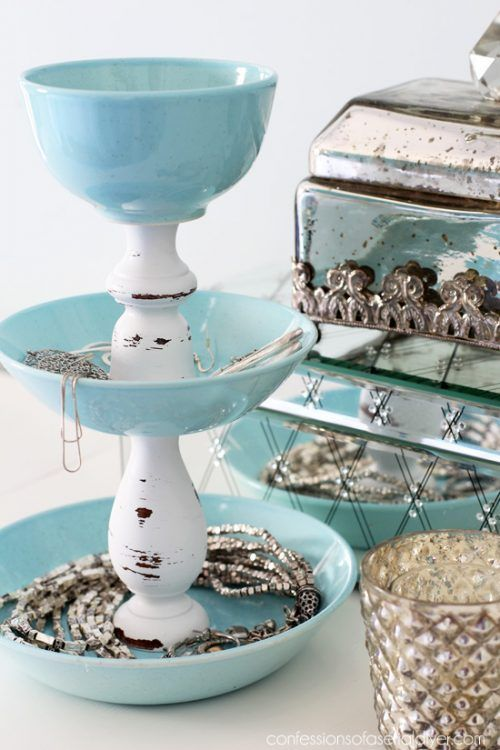 How cool is this Homemade Jewelry Tower? We love it! More Dollar Store Crafts an...