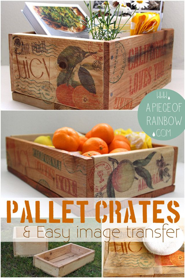 How to Make Pallet Crates + How to Transfer Image onto Wood Easily using Wax Pap...