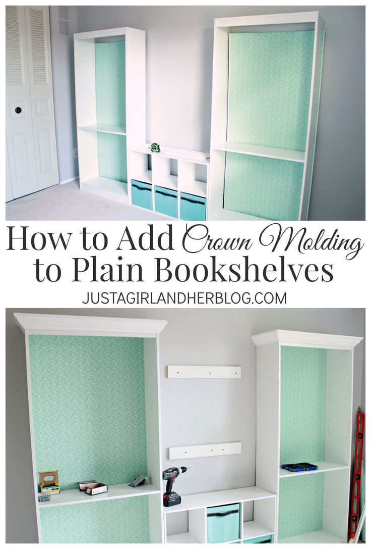 How to add crown molding to bookshelves for an upscale look-- such an easy proje...