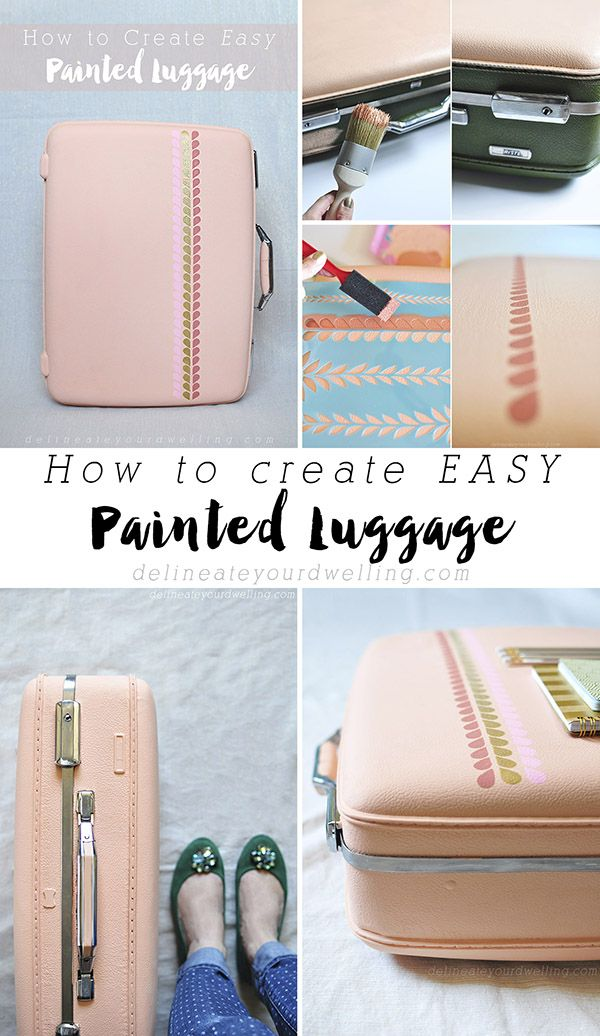 How to create Easy Painted Luggage. A perfect idea for pretty storage and organi...