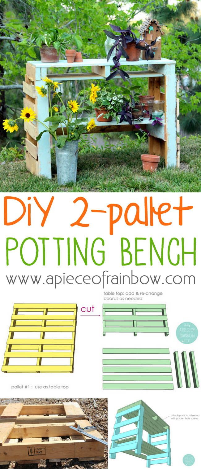 How to make a two pallet potting bench that is also a beautiful console table or...