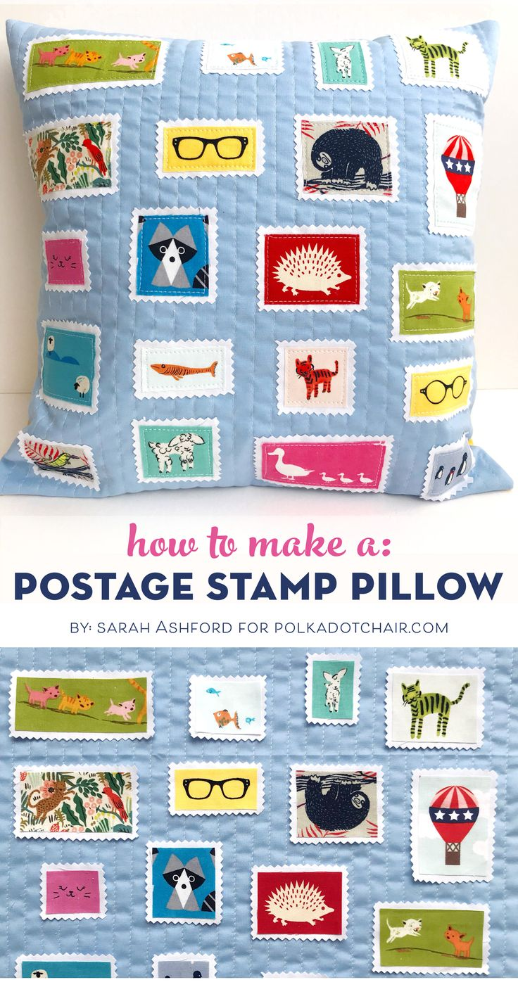 How to make an adorable postage stamp quilted pillow. A great use of fabric scra...