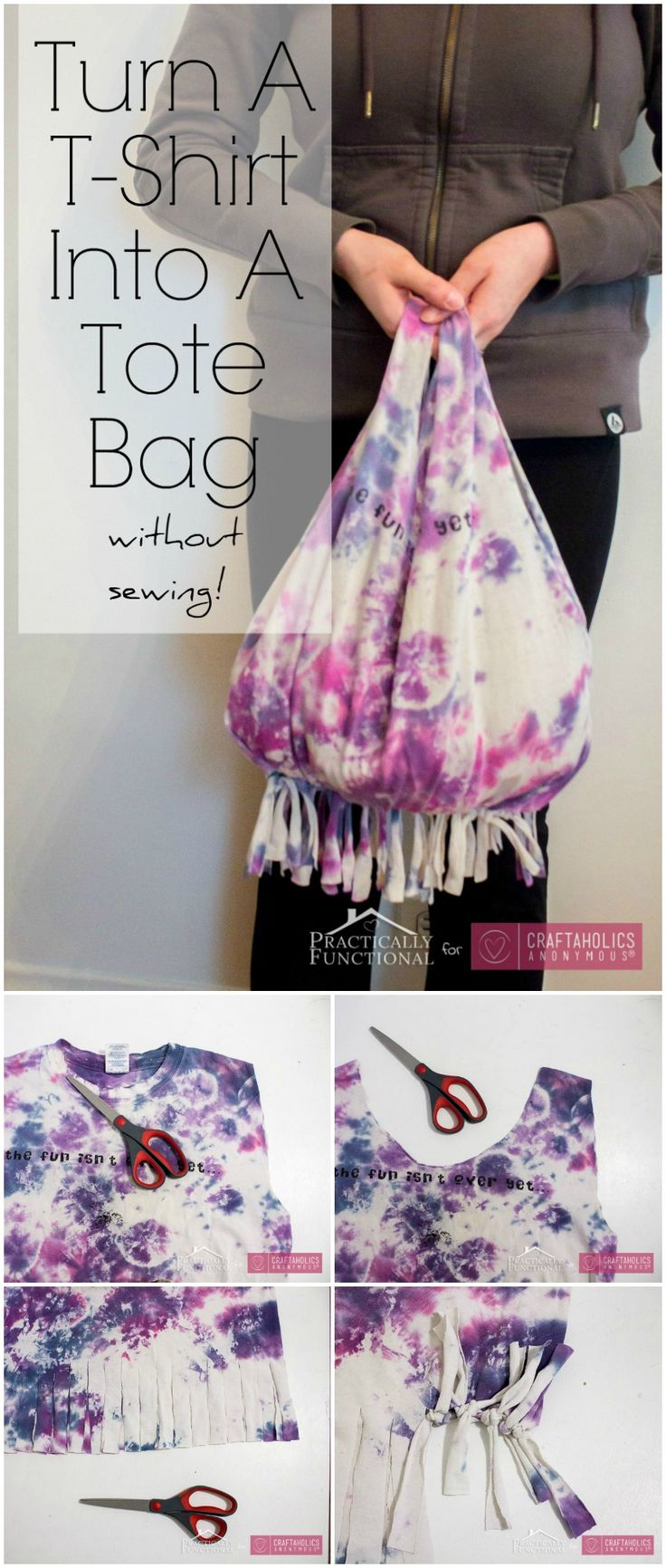 How to turn a T-Shirt Into Tote Bag || Great Teen craft idea!