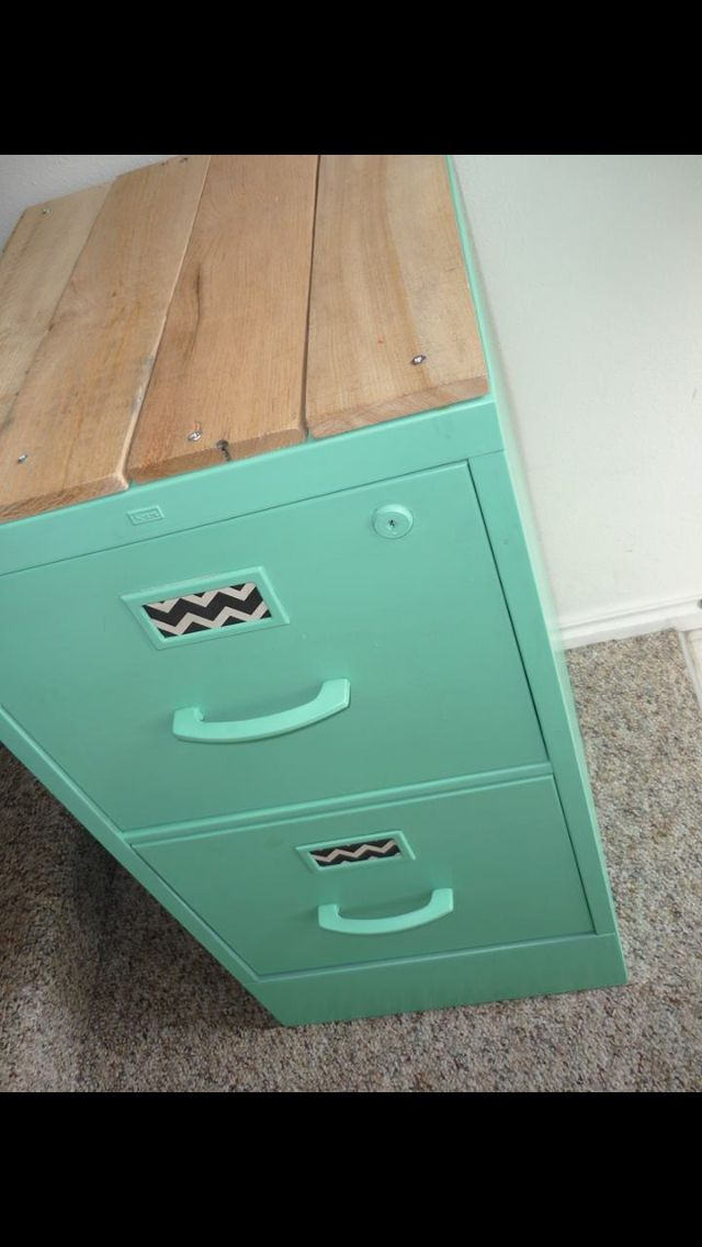 Like the idea to add wood to top of this filing cabinet, makes it look more like...