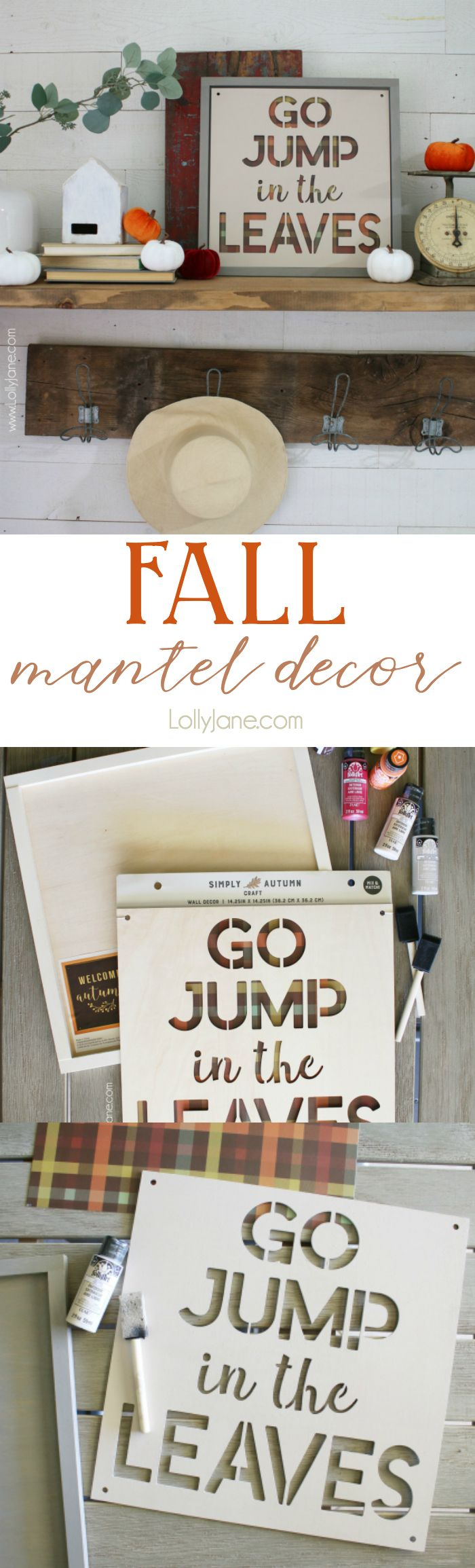 Love this plaid fall sign using buffalo check paper and a pre-made wood frame fr...