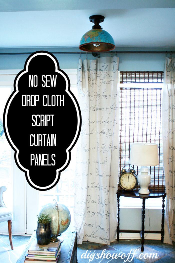 No Sew Drop Cloth Script Curtain Tutorial at diyshowoff.com