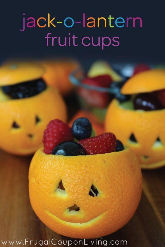 Orange Jack-O-Lantern Fruit Cups Frugal Coupon Living.  #FrugalCouponLiving #rec...