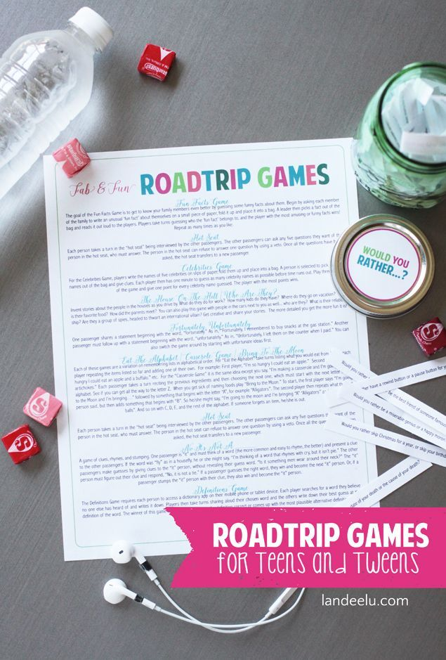 Road Trip Games for Teens and Tweens | Tons of great ideas to get you interactin...