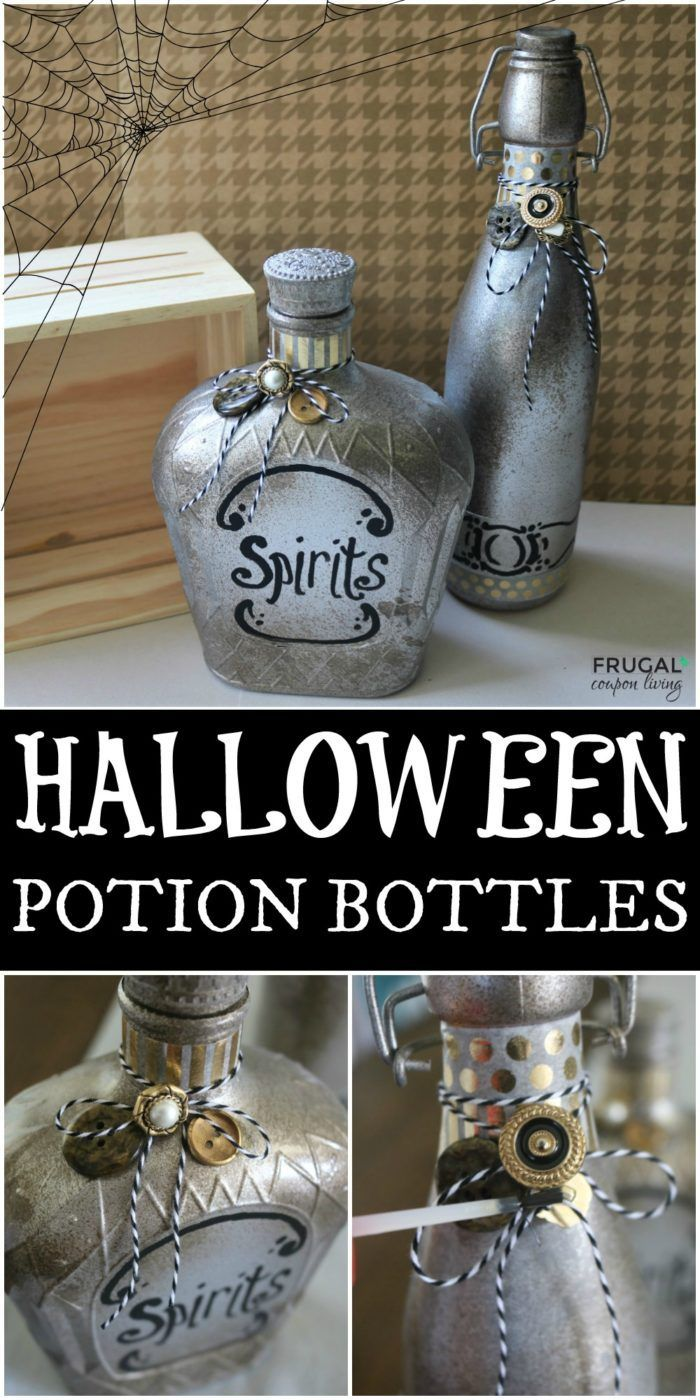 Save old glass jars and containers to make these up-cycled DIY Halloween Potion ...