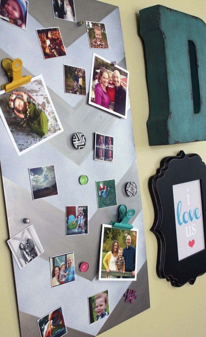 Share your memories with photo print magnets on a custom DIY magnet board