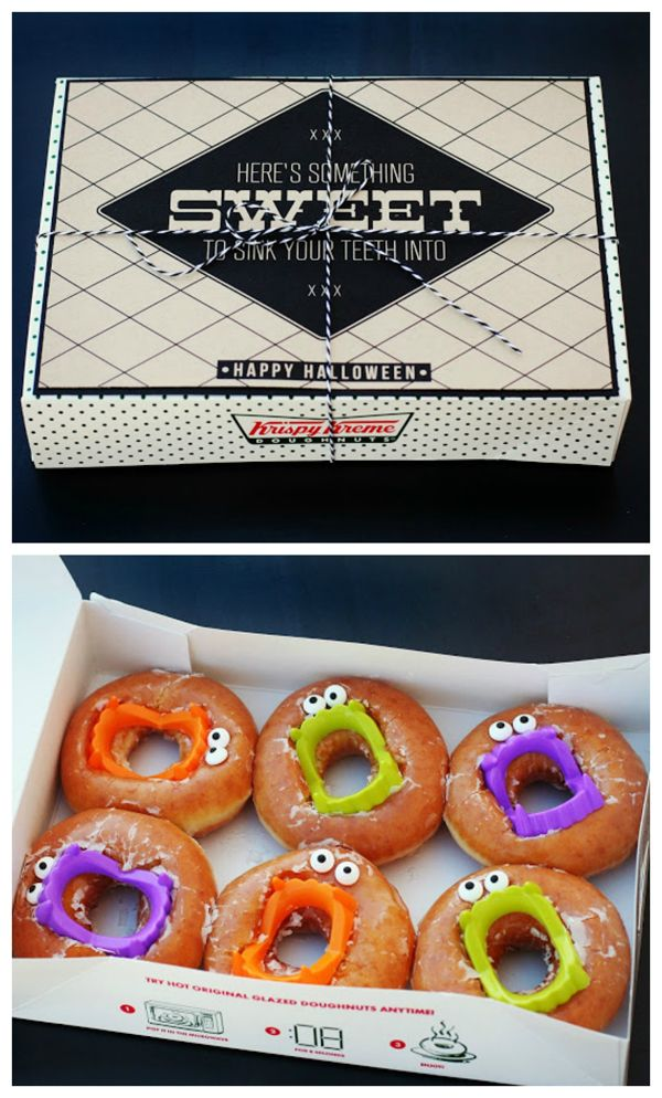 Sink your teeth into these treats. Halloween Gift idea. Vampire donuts with a fr...